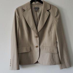 Ann Taylor EUC Tan Striped Wool Blazer Size 8